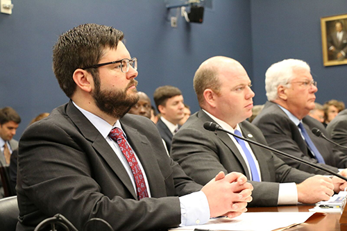 Jo-Carroll Energy General Counsel Chris Allendorf urges a House subcommittee to support rural broadband deployment. [photo: House Small Business Committee]