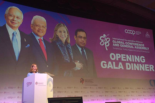 ICA President Monique F. Leroux speaks at the kick-off of this week's Global Conference and General Assembly. [photo: International Co-operative Alliance]