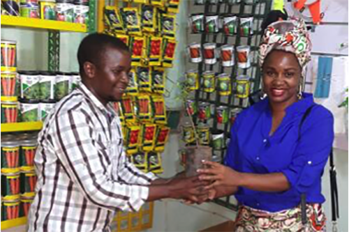 Amilcar Dalton, left, owns one of three seed stores in Mozambique's Nampula province.