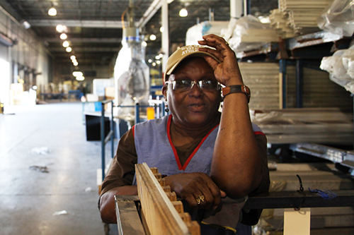 "Arizona Stingley became a worker-owner of New Era Windows Cooperative after 40 years of factory work. ""Everyone deserves the shot I got,"" she says. [photo courtesy The Working World]"