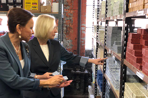 Sen. Gillibrand, right, and Rep. Velazquez tour Brooklyn Stone and Tile, an employee-owned cooperative in New York City. [photo courtesy Up & Go]