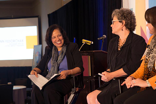 """You don't always think the financing panel is going to get to issues of equity and inclusion, but when you have a co-op impact conference, it does,"" said Lisa Mensah, left, who moderated the panel."