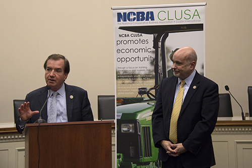 At a reception on Capitol Hill last week, Reps. Ed Royce, left, and Mark Pocan pledged the Congressional Cooperative Business Caucus' continued advocacy on issues affecting co-ops, from potential tax reform to international development.