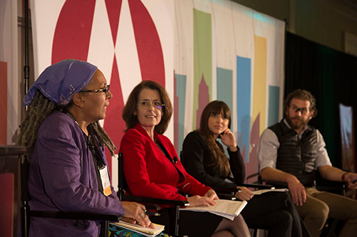 Councilmember Helen Rosenthal, second from left, speaks at last year's Co-op IMPACT Conference.